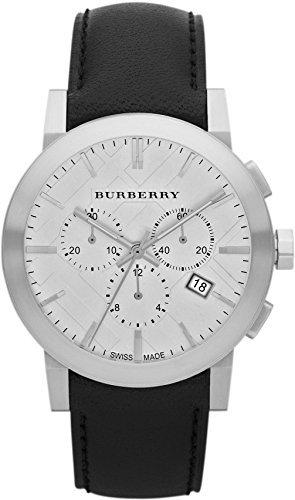 Swiss Burberry de lujo reloj cronógrafo hombres unisexo The City Piel Negra Dial de plata FECHA BU9355