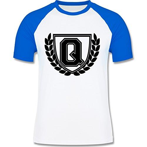 Anfangsbuchstaben - Q Collegestyle - zweifarbiges Baseballshirt für Männer Weiß/Royalblau