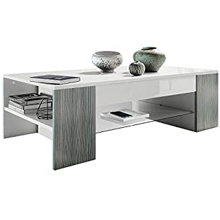 Vladon Coffee Table Side Table Clip in White Offsets in Avola-Anthracite