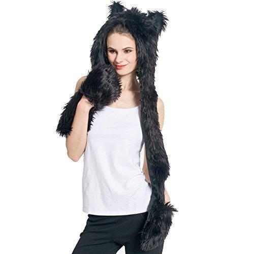 cdcb8b49 Faux Fur Animal Hat Bufanda Guantes Mittens 3-en-1 Función Furry Hoodie con