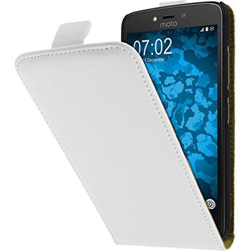PhoneNatic Kunst-Lederhülle für Lenovo Moto C Plus Flip-Case weiß + 2 Schutzfolien
