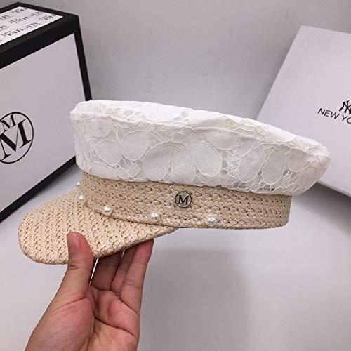 Hut, French White Lace Stitching Cap für Männer und Frauen dünne atmungsaktive Baseball-Mütze, weiß, M White French Hut