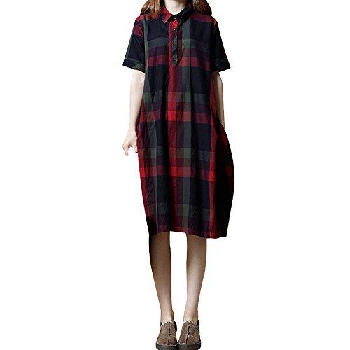 Krinoline Accessoires Kostüm Kind - Canifon Frauen Retro Halbe Hülse Etuikleid Damen Böhmen Plaid Beiläufig Lose Tasche Kleid