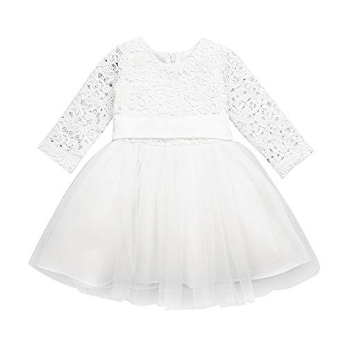 iEFiEL Baby Mädchen Kleidung Langarm Taufkleid Spitzen Partykleid Blumenmädchen Kleid 1. Geburtstag Kleider Kurzarm Outfits 3-24 Monate Elfenbein 68