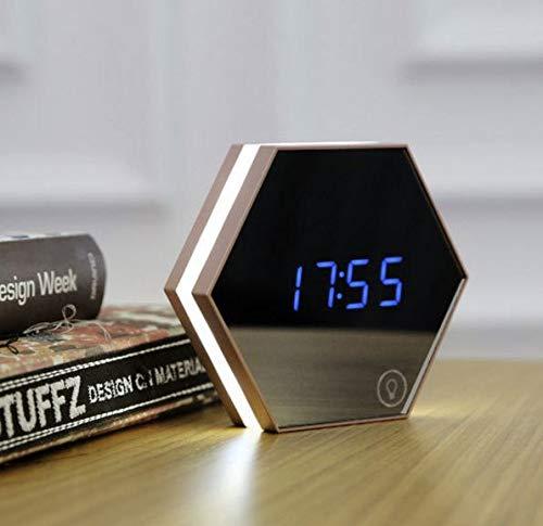 PXQOV Digitaler Spiegel Wecker Aufladen Led Augenschutz Kleine Nachtlicht Spiegellampe Multifunktionaleschutz Augenbettlampe Champagner Gold (Anpassbare Uhren-box)
