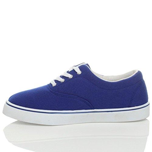 Hommes talon bas plat lacets désinvolte plimsolls chaussures de tennis pointure Bleu roi