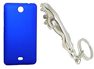 Toppings Hard Case Cover With Jaguar Shape Matallic KeyChain For Microsoft Lumia 430 - Blue