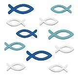 FEPITO 54 Stücke Holz Fische Streudeko Taufe Deko Fisch Deko Taufe Junge Tischdeko Taufe Konfirmation Deko - Blau und Weiß
