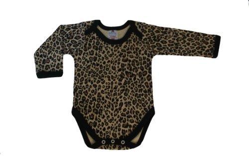 Collar de deslizamiento babywearuk la impresión del leopardo body chaleco de manga larga con - 3/6 Meses (British Protector de pantalla)