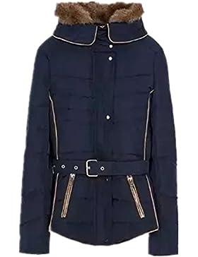 BOMOVO Para mujer diseño de cuadros capucha de para mujer cinturón de piel de para abrigos con capucha con de...