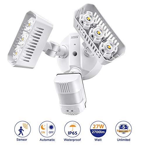 Sansi Faretto LED da esterno, 180 ° sensore di movimento crepuscolare sensore orientabile, 27 W luce di inondazione 2700lm, IP54 impermeabile luci parete esterna per garage, giardino