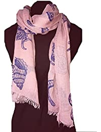 Pink with blue Shells, star fish, sea horse and fish under the sea long scarf with frayed edge.