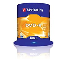 Verbatim 2330529 43549 4.7GB 16x DVD-R Matt Silver - 100 Pack Spindle