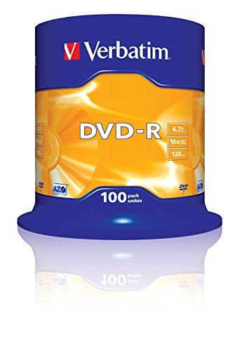 VERBATIM 43549 4.7Go 16x DVD-R Matt Silver - 100 Pack Spindle