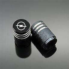 Kwun Opel Ventilkappen Aluminium 4 stücke (Schwarz)