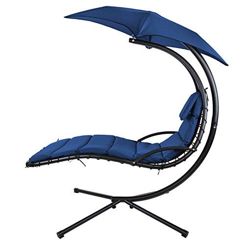 BB Sport Schwebeliege Hängeliege in Vielen Farben Schwingliege Sonnenliege mit Sonnenschirm, Auflagen und Nackenkissen, bis 150 kg belastbar, Farbe:Nachtblau