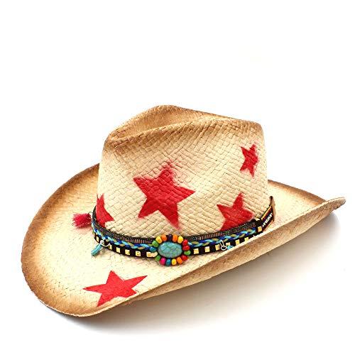 Frauen Männer Strohhut Western Cowboyhut Mit Böhmischen Quasten Band Star Lady Sombrero Cowgirl Papa Hut (Farbe : Natürlich, Größe : 58 cm) -