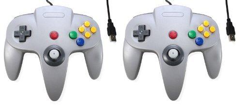 4624f29dc03d 2 GRAY USB Game Controller Joypad Joystick Gaming For Nintendo N64 PC Mac  by Debbi Top