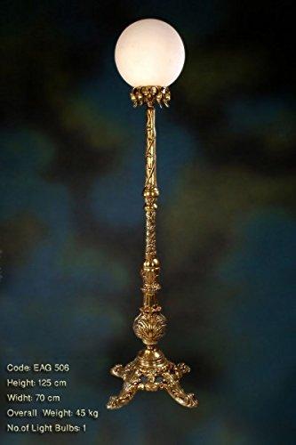 Tischleuchter, Tischleuchte, Messing Barock antik Glas AgEag0506