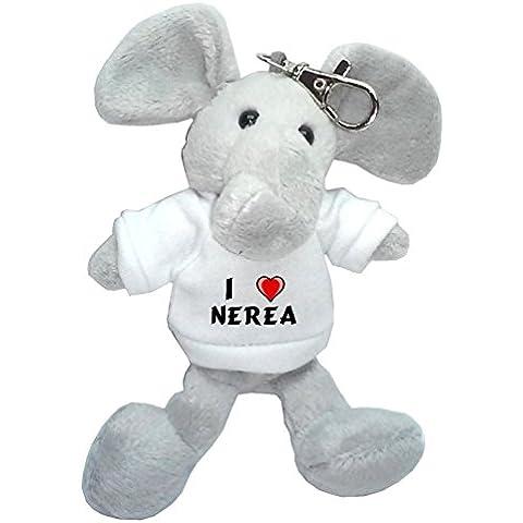 Elefante de peluche (llavero) con Amo Nerea en la camiseta (nombre de pila/apellido/apodo)