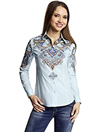 oodji Collection Mujer Blusa de Algodón con Estampado Étnico