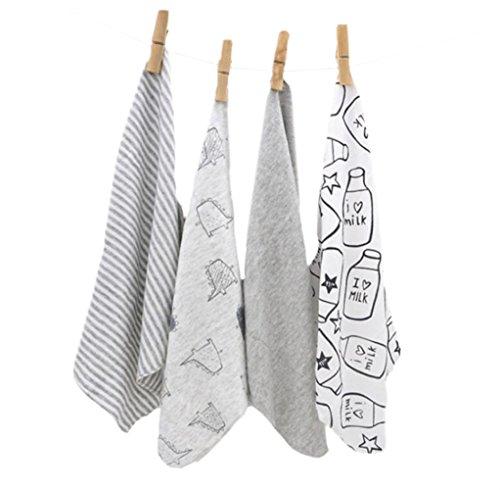 CuteOn 4 PCS Wiederverwendbare Neugeborene Baby Waschlappen Fütterung Abwischen Tuch Mini Baby Handtücher für empfindliche Haut 11.02