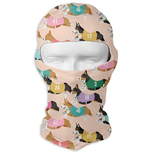 Pizeok Windproof Balaclava, Corgi Runnnig Racing Corgis Dog Face Mask for Skiing Motorcycle Fashion9 Blau Unisex Lightweight Fleece