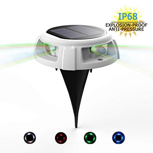 Solar-Bodenleuchte, Veofoo RGB-Solar-Gartenleuchten - 4 LED IP68-Außenleuchten für wasserdichte Sicherheitsleuchten, Landschaftsbeleuchtung mit Spikes für den Rasenweg in der Hofeinfahrt (1piece)