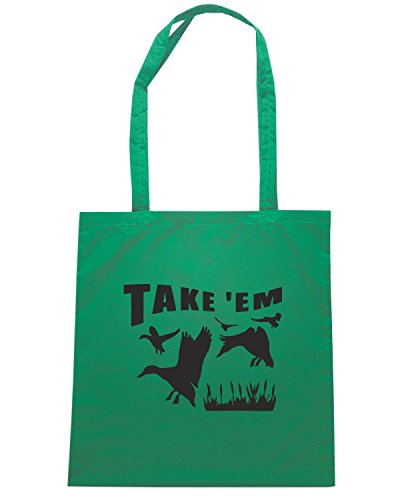 T-Shirtshock - Borsa Shopping FUN1289 duck hunting decal sticker 37 52231 Verde