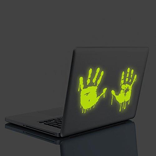 (30x 20cm) Glowing Vinyl Wand Aufkleber BLOODY Hände/Glow in Dark Blood Vampire Hand Aufkleber/Leuchtziffern lustig Walking Dead Auto Wandbild + Gratis Aufkleber Geschenk (In Glow Dark-wand-aufkleber The)