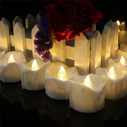 LED Flammenlose Tealights, Flackern Teelichter, elektrische Kerze Lichter Batterie Dekoration für Weihnachten, Weihnachtsbaum, Ostern, Hochzeit, Party 3CM*3.5CM ()