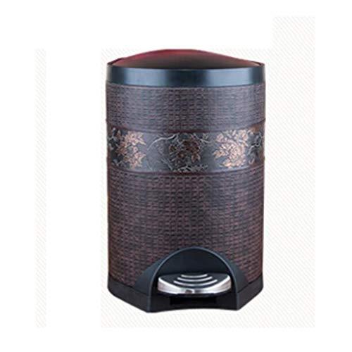 Abfalleimer Wddwarmhome Mülleimer mit Deckel Hause Wohnzimmer Pedal Art Kreative Toilette Badezimmer Bin Flip Chinesische Retro Fuß Abdeckung (Capacity : 5L) 5l Retro-pedal-bin