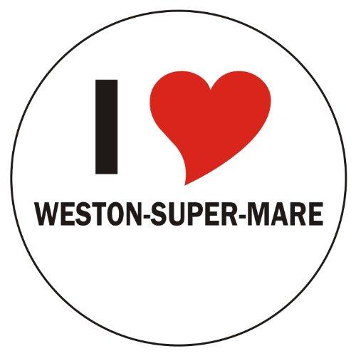Aufkleber / Sticker / Autoaufkleber - I love Weston-super-Mare Aufkleber - 8 cm Durchmesser rund - JDM / Die cut / OEM - Auto / Heckscheibe - aussenklebend (Indigo Weston)