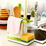 kreativekudie Sink Tidy Self Draining Sink Caddy with Base Stand Organizer Brush Sponge Cleaning Cloth Holder Drain Dishwasher Liquid Rack Storage Bag Baskets Tool (Assorted Color) Kitchen Sink Caddy ✔ Attractive and Practical ✔ Detachable ✔ Hanging and Drying Space ✔ Draining Plate ✔ Ample Space ✔ Simple ✔ Easy to clean ✔ Dishwasher Safe ✔ Fits Neatly On Most Kitchen