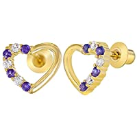 18k Gold Plated Purple and Clear Crystal Heart Screw Back Earrings for Girls