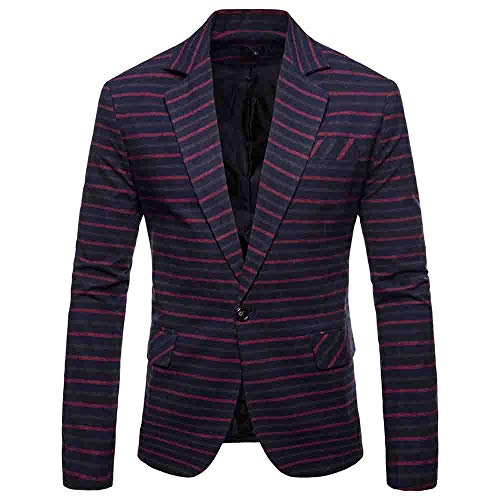 Herren Cardigan Coat,TWBB Horizontale Streifen Suit Formal Passen Mit Knopf Outwear Mantel Pullover Persönlichkeit Lange Ärmel Hemd