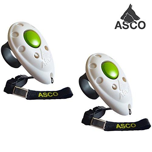 ASCO 2X Premium Clicker, Finger Clicker für Clickertraining, Hunde Katzen Pferde Profi Clicker, Hundetraining Klicker weiß AC05F, 2 Stück