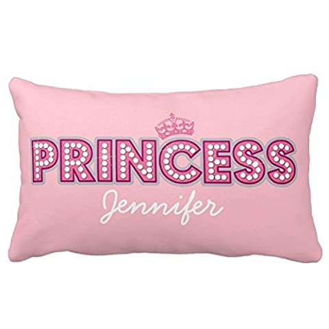 Europe Style Princess Personalized Name | Cute Pink Crown Tribal, Indian, Geometric, Brown Hue Home Throw Pillow Case Pillow Case Covers Decorative Cover For Sofa 30 Inches