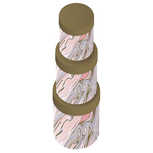 Clairefontaine K-24801-BXC 3 runde Boxen (Maße: 9 x 7 cm + 14,5 x 11 cm und 19 x 12 cm), Marmor Rosa