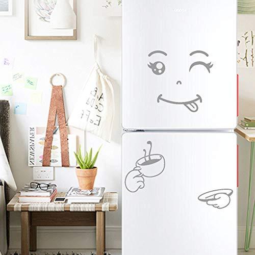 Zegeey Nette Aufkleber Kühlschrank Happy Delicious Gesicht Küche Kühlschrank Wand Kühlschrank Vinyl Aufkleber Kunst Wandtattoo Home Decor