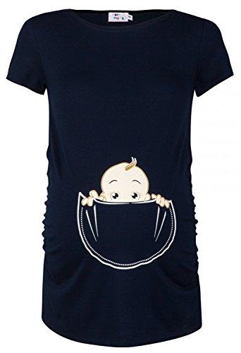 Happy Mama. Damen Baby in der Tasche T-Shirt Top Oberteil für Schwangere. 501p (Marine, EU 36/38, S)