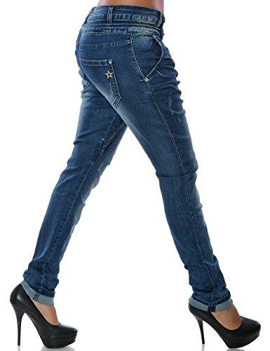 Damen Boyfriend Jeans Hose Reißverschluss Knopfleiste (weitere Farben) No 14145 Blau