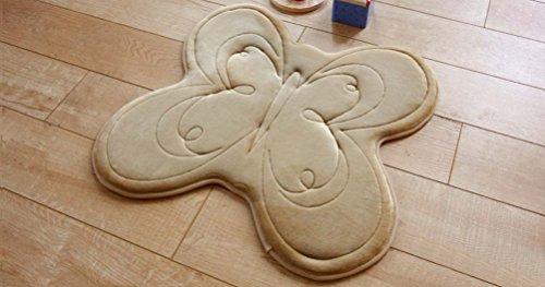 eazyhurry franela lento rebote sólido irregular animal patrón Felpudo decoración del hogar alfombra para interiores área de cocina alfombra suelo Runner Mat alfombrilla de entrada, Beige Butterfly, 60 X 60cm/23.6' X 23.6'