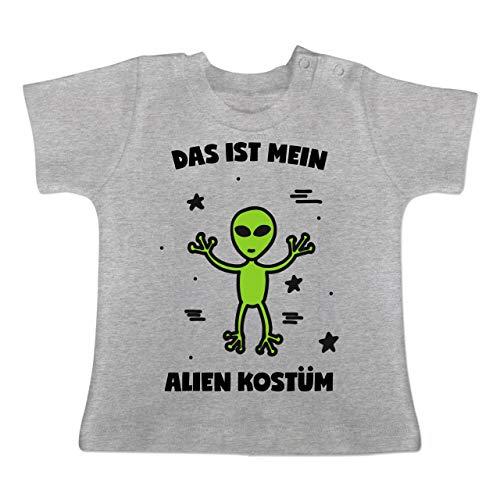 Karneval und Fasching Baby - Das ist Mein Alien Kostüm - 3-6 Monate - Grau meliert - BZ02 - Baby T-Shirt Kurzarm