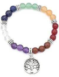 aiuin 7Chakra Balance de pulsera mujer hombre piedra pulsera Reiki de energía Terapia Yoga de pulsera Árbol de la Vida Colgante