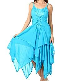 Sakkas Lady Mary Jacquard Bodice Handkerchief Hem Dress