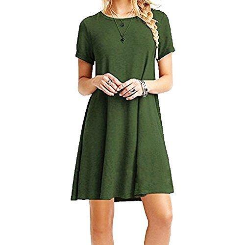 ZNYSTAR Mujeres Verano Vestido de camiseta Suelto Casual Cuello Redondo Mangas cortas Vestidos (S, Ejercito verde)