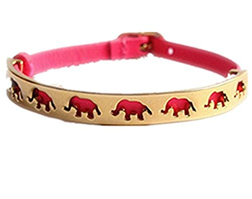 Dot & Line® pink elephant hollow gold bangle pink lather belt wrap bracelet