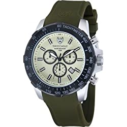 Swiss Eagle se-9065-09 - Herzog Chronograph - Watch Men - Quartz - green dial green silicone strap