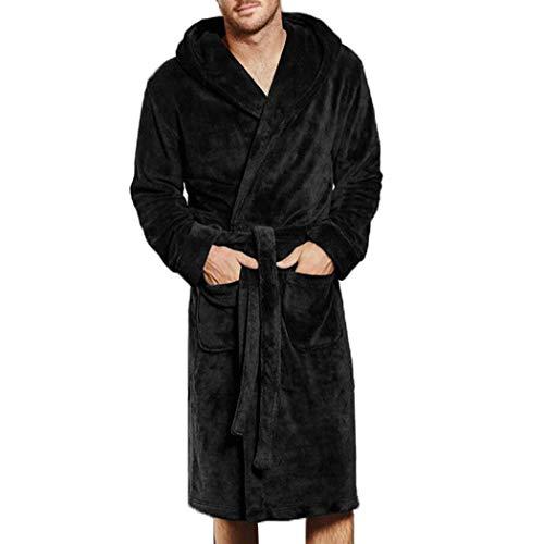 XWBO Herren Bademantel mit Kapuze und Schalkragen Morgenmantel Größe M - XXXXL Übergrößen Sauna-Mantel Fleece Saunamantel Morgenrock